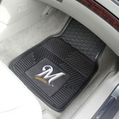 "Milwaukee Brewers Heavy Duty 2-Piece Vinyl Car Mats 17""x27"""