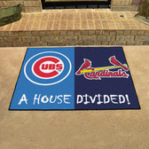 "Chicago Cubs - St. Louis Cardinals House Divided Rugs 33.75""x42.5"""
