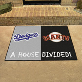 "Los Angeles Dodgers - San Francisco Giants House Divided Rugs 33.75""x42.5"""