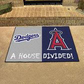 "Los Angeles Dodgers - Anaheim Angels House Divided Rugs 33.75""x42.5"""