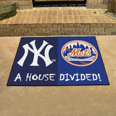 "New York Yankees - New York Mets House Divided Rugs 33.75""x42.5"""