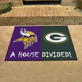 "Minnesota Vikings/Green Bay Packers House Divided Rugs 33.75""x42.5"""