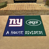 "New York Giants/New York Jets House Divided Rugs 33.75""x42.5"""