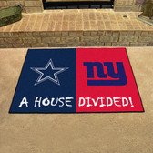 "Dallas Cowboys/New York Giants House Divided Rugs 33.75""x42.5"""