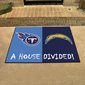 "San Diego Chargers - Tennessee Titans House Divided Rugs 33.75""x42.5"""