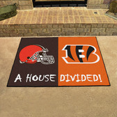 "Cincinnati Bengals - Cleveland Browns House Divided Rugs 33.75""x42.5"""