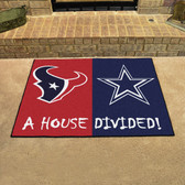 "Houston Texans - Dallas Cowboys House Divided Rugs 33.75""x42.5"""