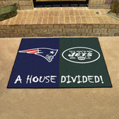 "New England Patriots - New York Jets House Divided Rugs 33.75""x42.5"""