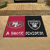 "San Francisco 49ers - Oakland Raiders House Divided Rugs 33.75""x42.5"""