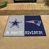 "Dallas Cowboys - New England Patriots House Divided Rugs 33.75""x42.5"""