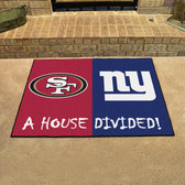 "NFL -San Francisco 49ers - New York Giants House Divided Rugs 33.75""x42.5"""