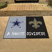 "Dallas Cowboys - New Orleans Saints House Divided Rugs 33.75""x42.5"""