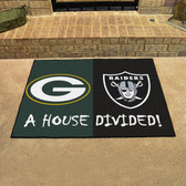 "Green Bay Packers - Oakland Raiders House Divided Rugs 33.75""x42.5"""