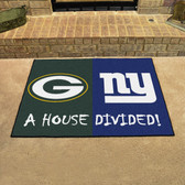 "Green Bay Packers - New York Giants House Divided Rugs 33.75""x42.5"""