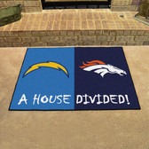 "San Diego Chargers/Denver Broncos House Divided Rugs 33.75""x42.5"""