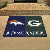 """NFL Broncos / Packers House Divided Rug 33.75""""x42.5"""""""