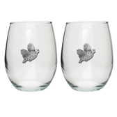 Bobwhite Quail Stemless Wine Glass (Set of 2)