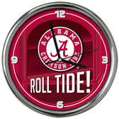 Alabama Crimson Tide Go Team! Chrome Clock