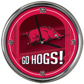 Arkansas Razorbacks Go Team! Chrome Clock