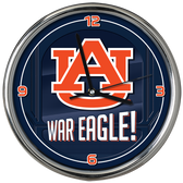 Auburn Tigers Go Team! Chrome Clock