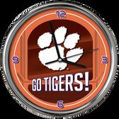 Clemson Tigers Go Team! Chrome Clock