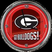 Georgia Bulldogs Go Team! Chrome Clock