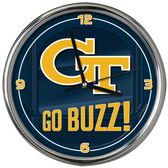 Georgia Tech Yellow Jackets Go Team! Chrome Clock