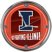 Illinois Fighting Illini Go Team! Chrome Clock