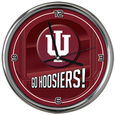 Indiana Hoosiers Go Team! Chrome Clock