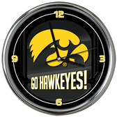 Iowa Hawkeyes Go Team! Chrome Clock
