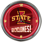 Iowa State Cyclones Go Team! Chrome Clock