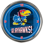 Kansas Jayhawks Go Team! Chrome Clock