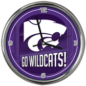 Kansas State Wildcats Go Team! Chrome Clock