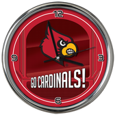 Louisville Cardinals Go Team! Chrome Clock