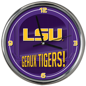LSU Tigers Go Team! Chrome Clock