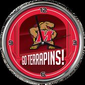 Maryland Terrapins Go Team! Chrome Clock