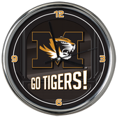 Missouri Tigers Go Team! Chrome Clock