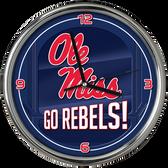 Ole Miss Rebels Go Team! Chrome Clock