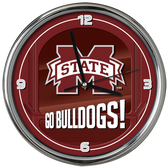 Mississippi State Bulldogs Go Team! Chrome Clock