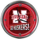 Nebraska Cornhuskers Go Team! Chrome Clock
