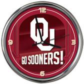 Oklahoma Sooners Go Team! Chrome Clock