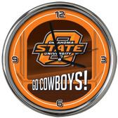 Oklahoma State Cowboys Go Team! Chrome Clock