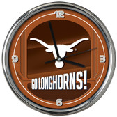 Texas Longhorns Go Team! Chrome Clock