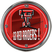 Texas Tech Red Raiders Go Team! Chrome Clock