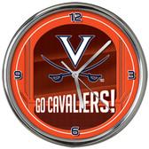 Virginia Cavaliers Go Team! Chrome Clock