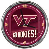 Virginia Tech Hokies Go Team! Chrome Clock