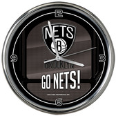 Brooklyn Nets Go Team! Chrome Clock