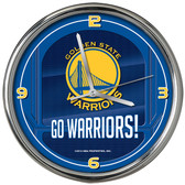 Golden State Warriors Go Team! Chrome Clock