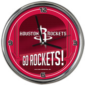 Houston Rockets Go Team! Chrome Clock