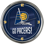 Indiana Pacers Go Team! Chrome Clock
